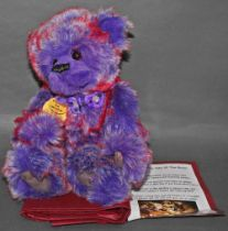 """A soft plush """"Pansy"""" Charlie Bear, CB631297A, having purple and red tipped fur body,"""