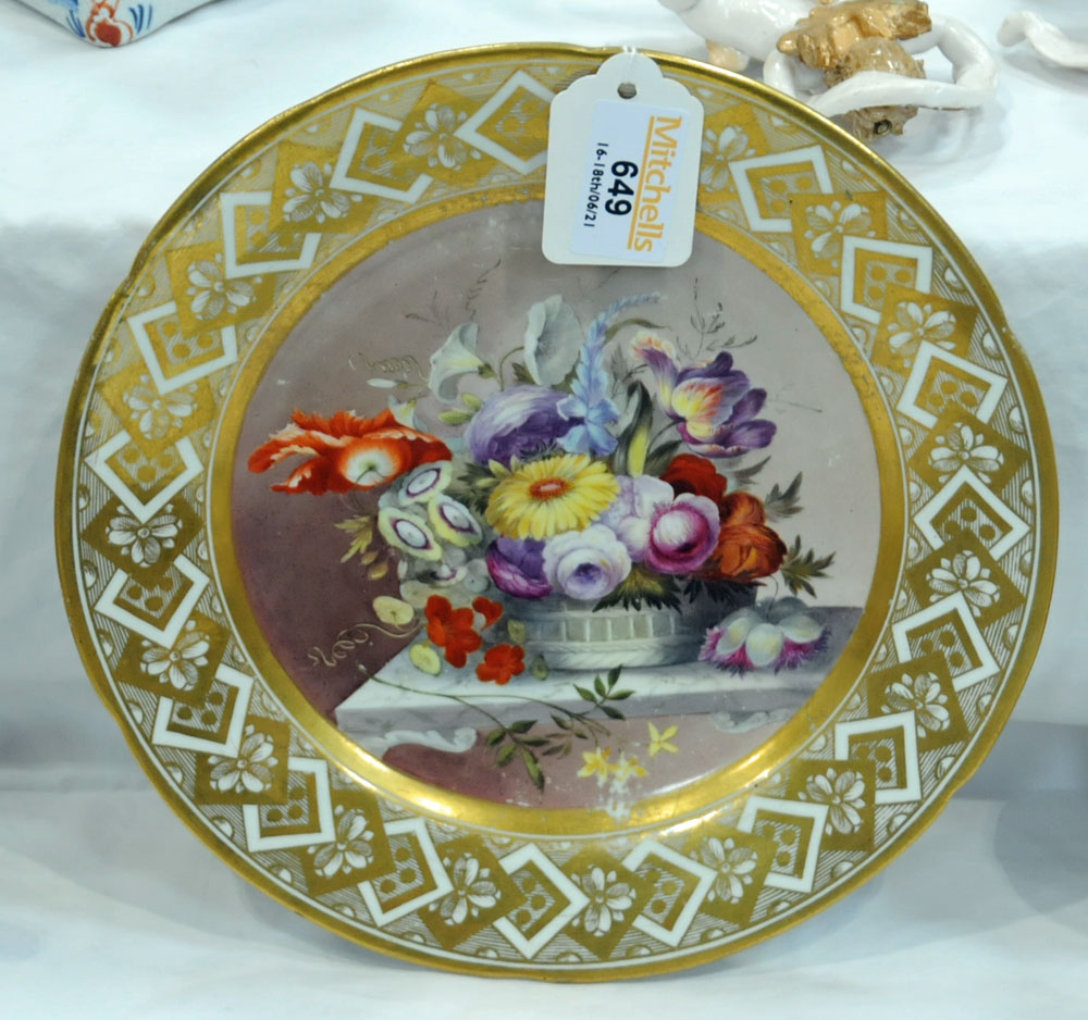 An early 19th century Pinxton porcelain circular cabinet plate, - Image 4 of 8