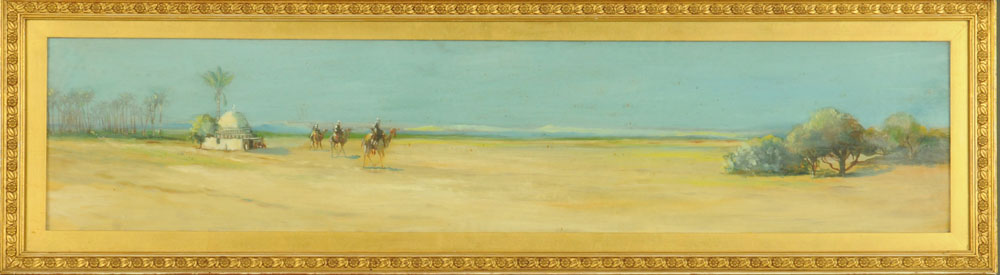 Oil painting on board of a desert scene with camels, 19 cm x 90 cm, framed. - Image 2 of 2