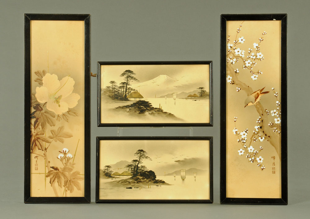 A pair of Japanese ink and gilt highlighted drawings,