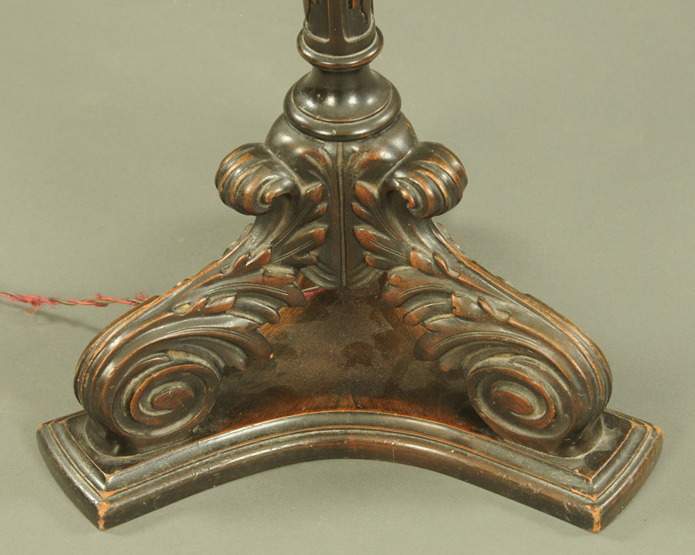 A carved wooden lamp standard, with three downswept scroll legs and triform base. - Image 2 of 2