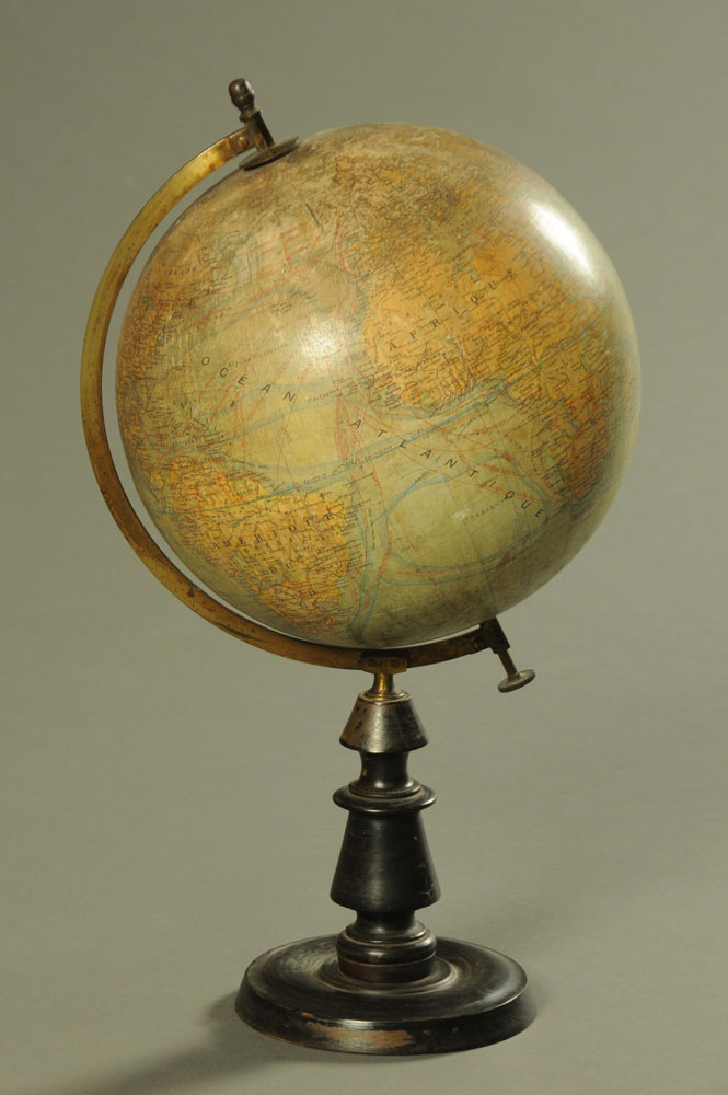 An 19th century French globe terrestre by J Forest.