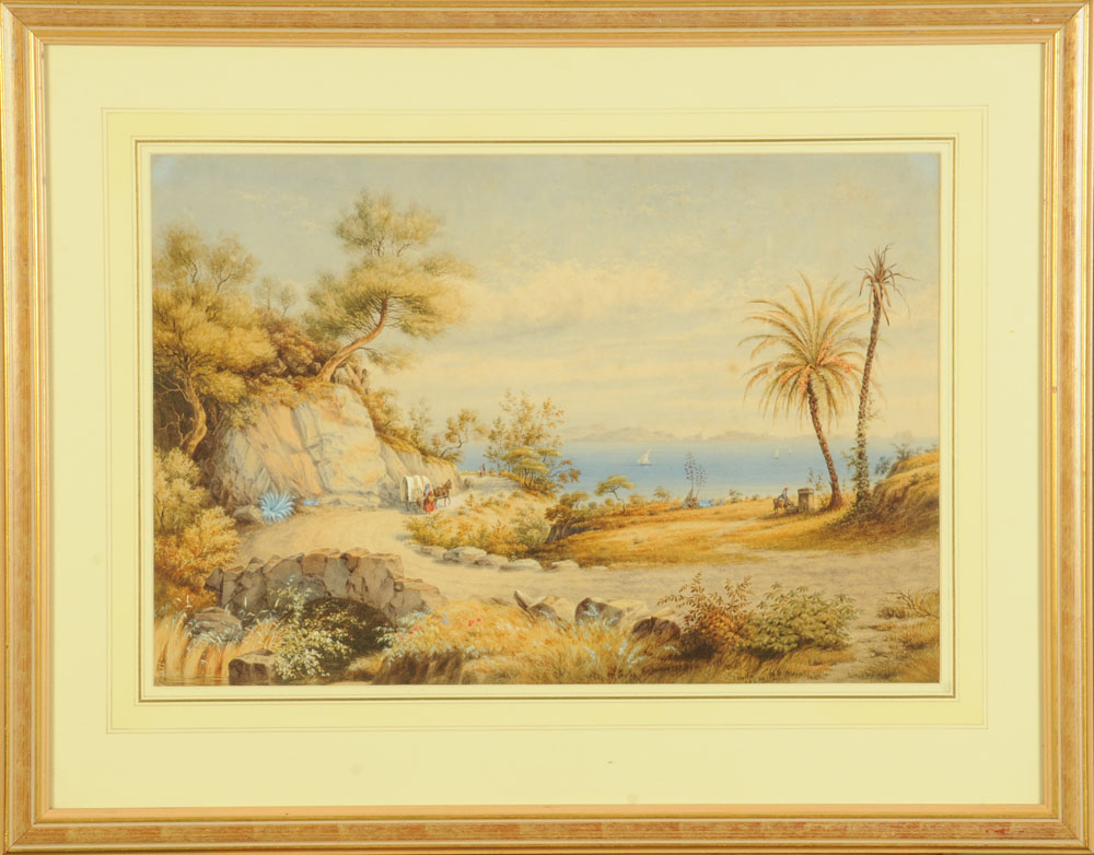 """J Clifford Smith (Victorian), watercolour """"The Fountain of St Salvadori near Hyeres, France"""". - Image 2 of 2"""