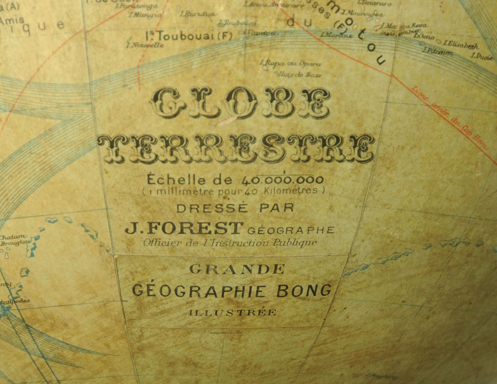 An 19th century French globe terrestre by J Forest. - Image 2 of 2
