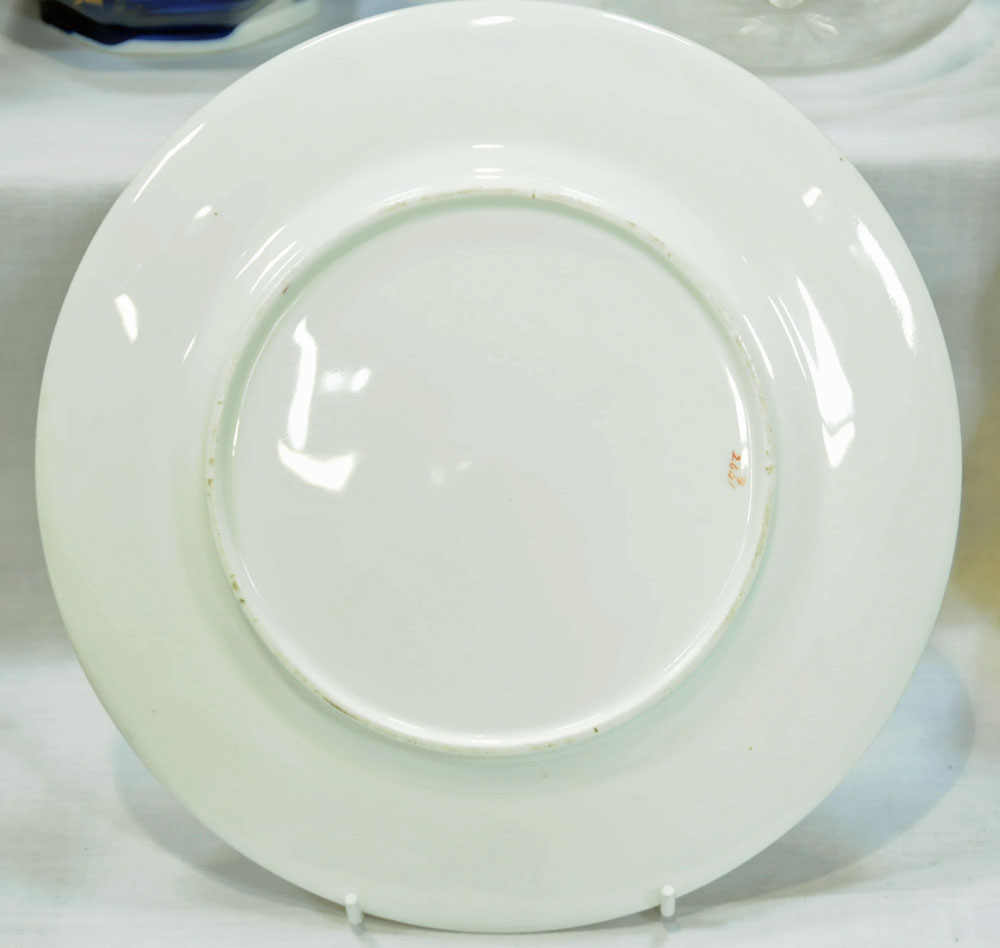 A collection of six 19th century hand painted cabinet plates, one bearing lozenge registration mark, - Image 3 of 15