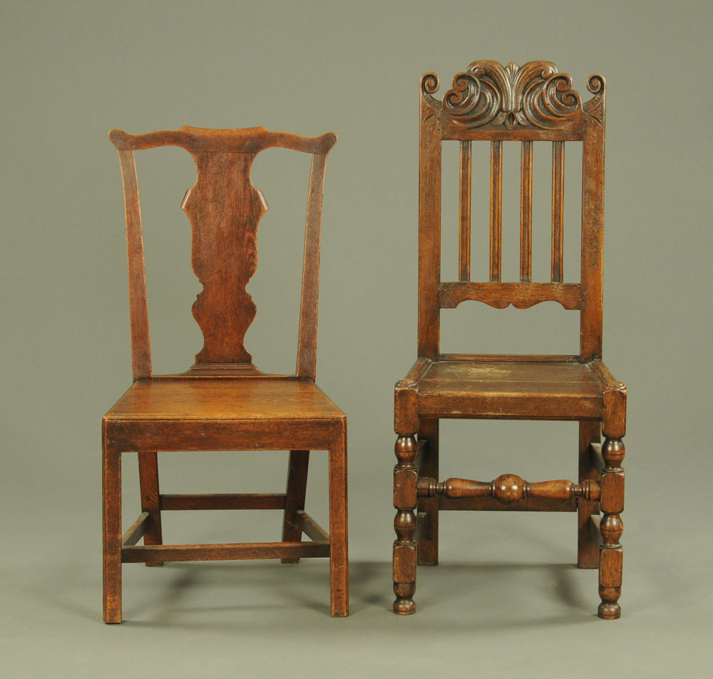 An early 19th century oak Chippendale style splat back style dining chair,