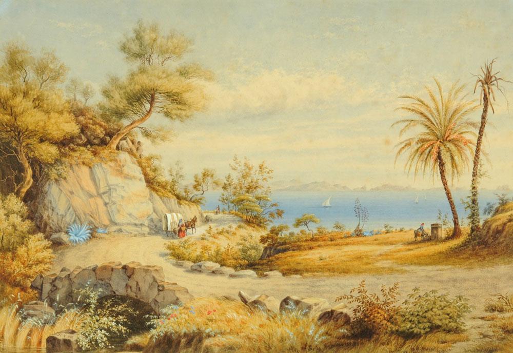 "J Clifford Smith (Victorian), watercolour ""The Fountain of St Salvadori near Hyeres, France""."
