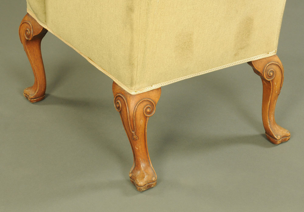 A Queen Anne style wing armchair, - Image 2 of 2