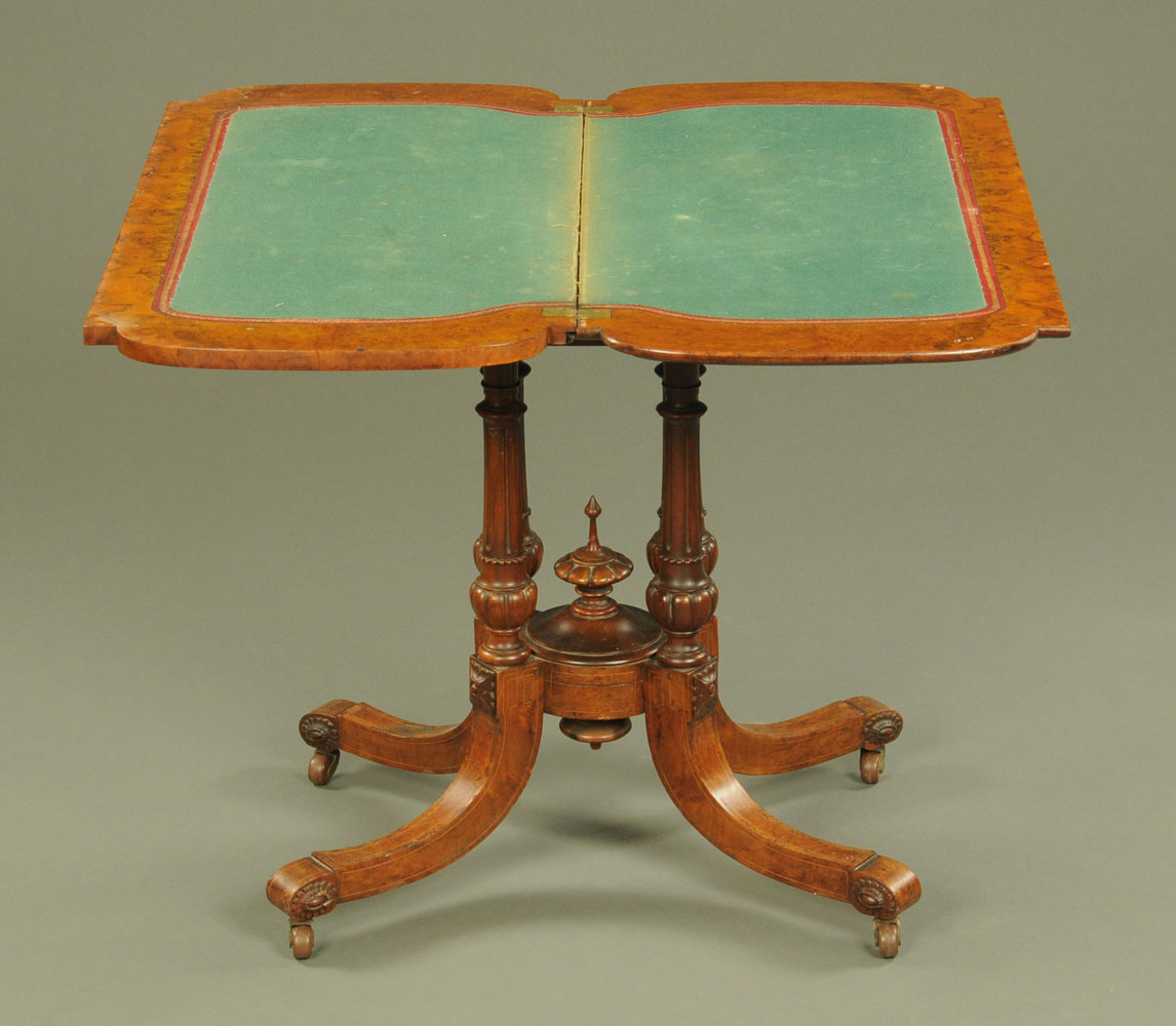 A Victorian burr walnut inlaid turnover top card table, - Image 2 of 2