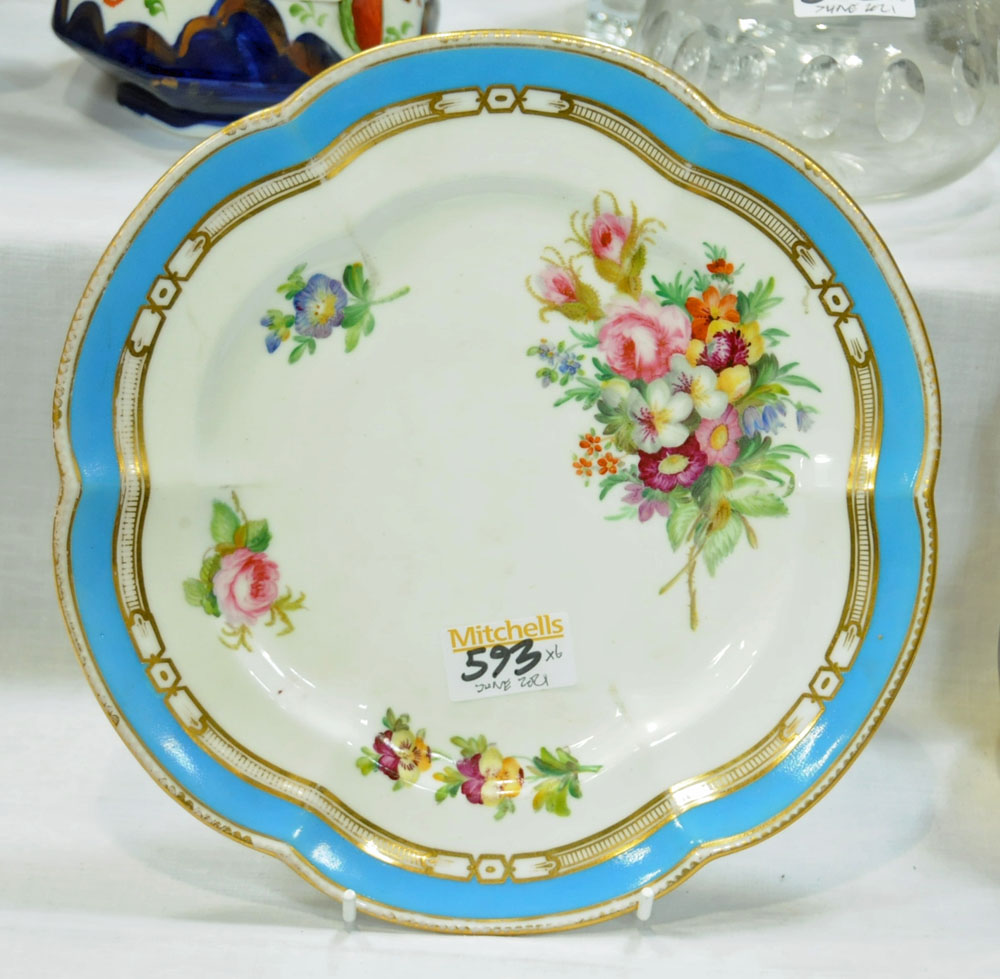 A collection of six 19th century hand painted cabinet plates, one bearing lozenge registration mark, - Image 14 of 15