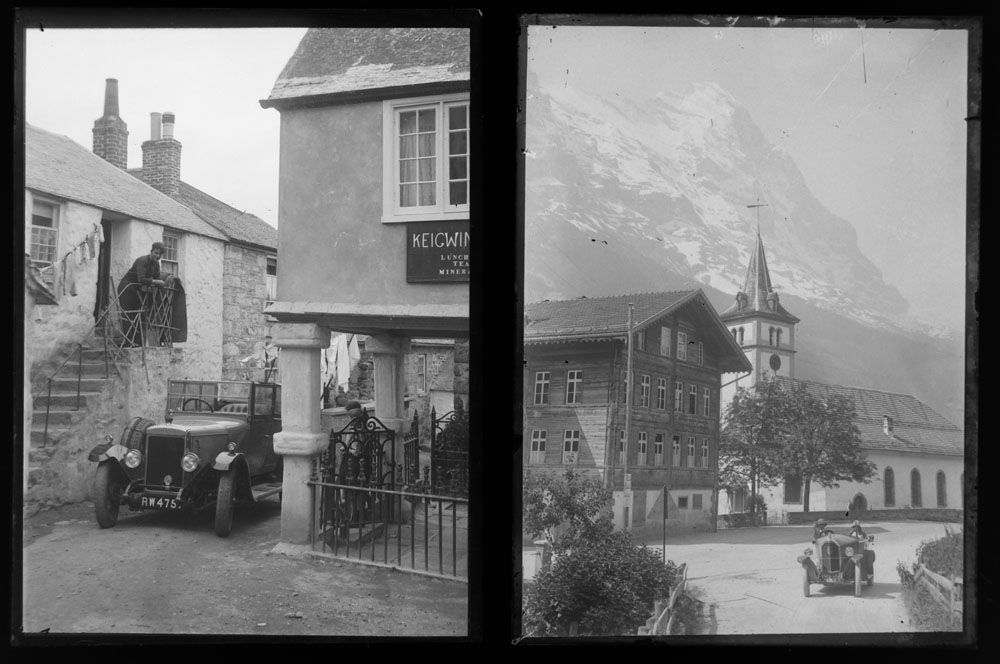 Early 20th century photographic glass half and full plates, depicting vintage cars on tour, - Image 5 of 10