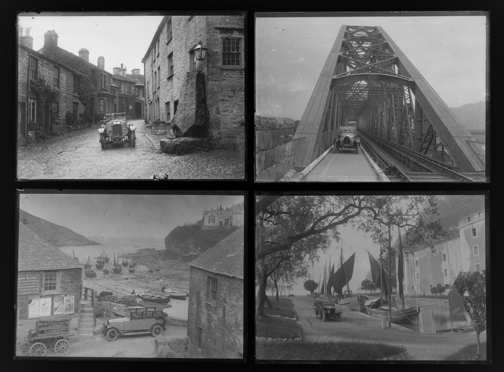 Early 20th century photographic glass half and full plates, depicting vintage cars on tour,
