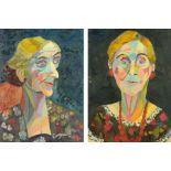 Audrey Harling (1920-1995), two oil paintings, shoulder length portraits of elderly women.