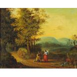 A late 18th century oil on panel, figures in landscape. 18 cm x 23 cm, framed.