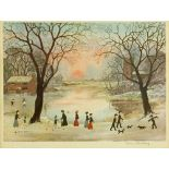 "Helen Bradley, signed colour print, ""Winter Pond"","