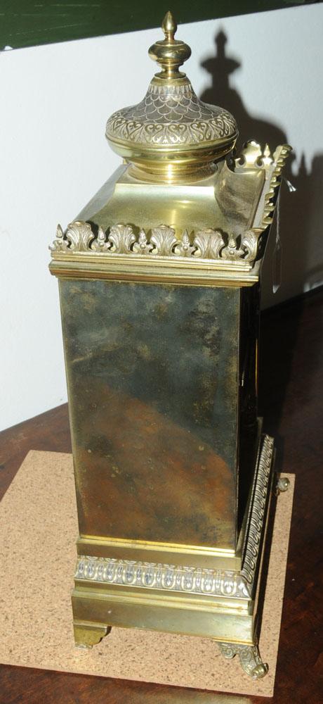 A 19th century gilt brass cased bracket clock, - Image 2 of 5