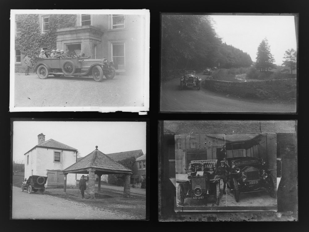 Early 20th century photographic glass half and full plates, depicting vintage cars on tour, - Image 3 of 10