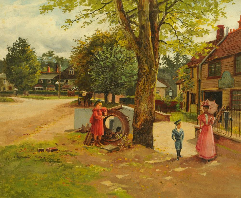 An oil painting on board, Edwardian street scene. 25 cm x 19.5 cm.