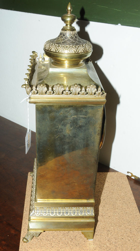 A 19th century gilt brass cased bracket clock, - Image 3 of 5