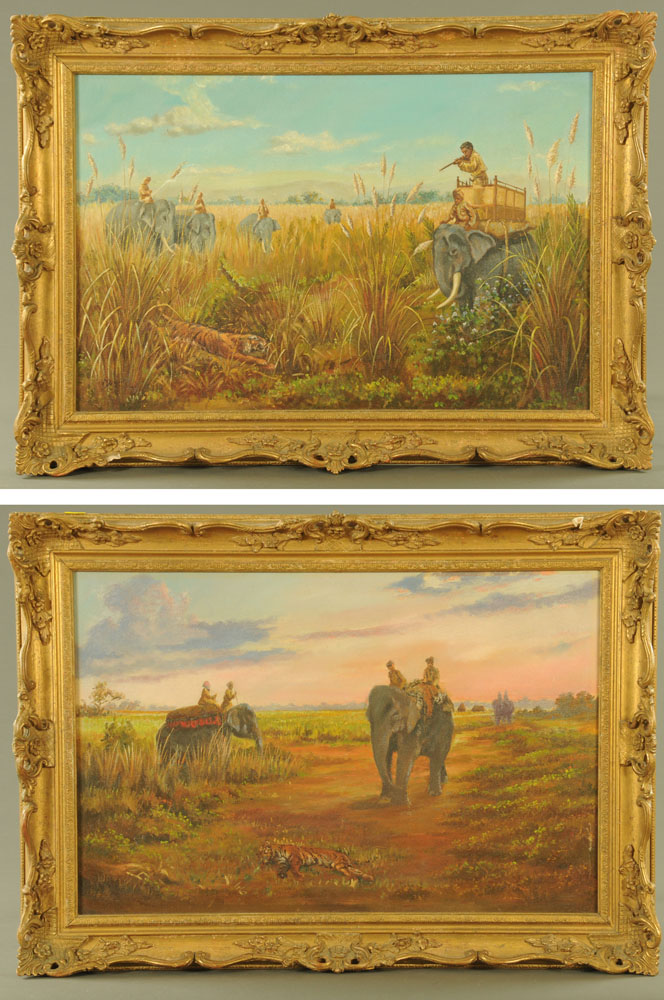 A pair of oil paintings on canvas, tiger hunting scenes. Each 43 cm x 67 cm, framed. - Image 2 of 2