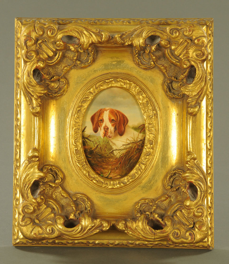 Oil painting of 19th century style, portrait of a Beagle, oval, - Image 2 of 2