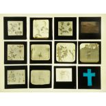 Twenty four late Victorian/early 20th century magic lantern slides,