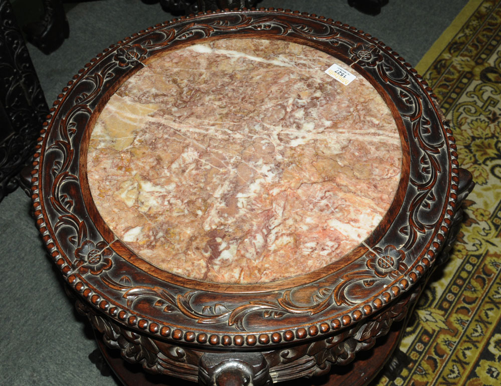 A 19th century Chinese hardwood rouge marble topped jardiniere stand, - Image 4 of 7