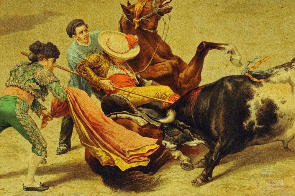 After J Chavez, an oleograph of a bullfight, 47 cm x 62 cm, framed. - Image 4 of 6