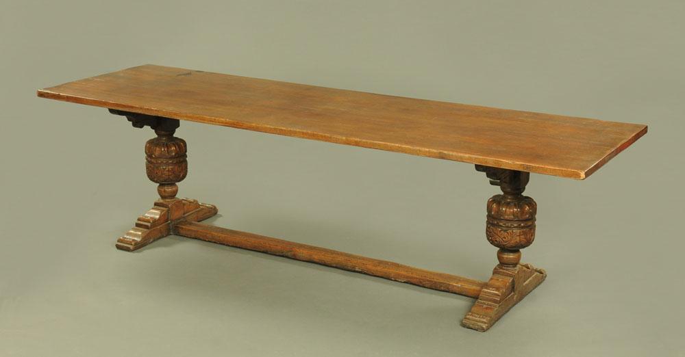 A large Elizabethan style oak refectory table,