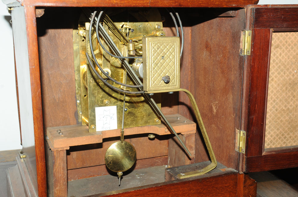 A 1920's mahogany bracket clock of 18th century design by Junghans, - Image 2 of 2
