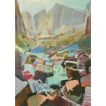 Christopher Assheton-Stones (1947-1999), a pastel of a mountain pass, 74 cm x 51 cm, framed.