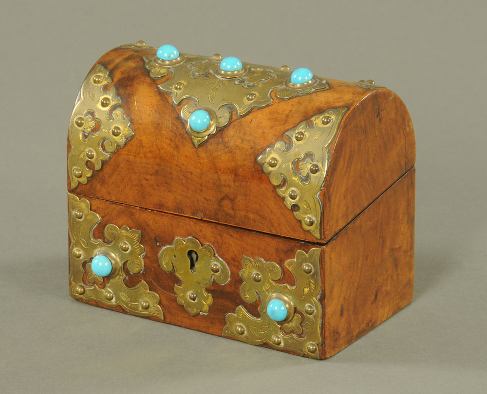 A Victorian walnut and gilt metal mounted, cabochon and turquoise inset,
