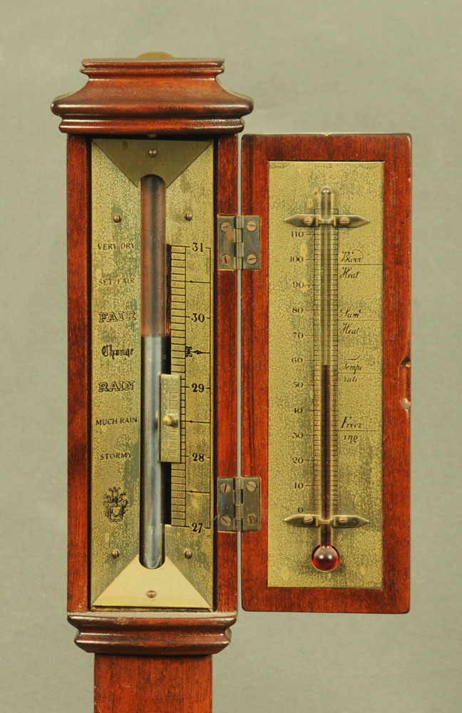 A mahogany cased marine barometer complete with brass gimbal, - Image 2 of 2