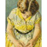 """Peter Barrie Gross (1924-1987 PPR BSA), Birmingham artist, oil on canvas """"Marianne Knitting 1954"""","""