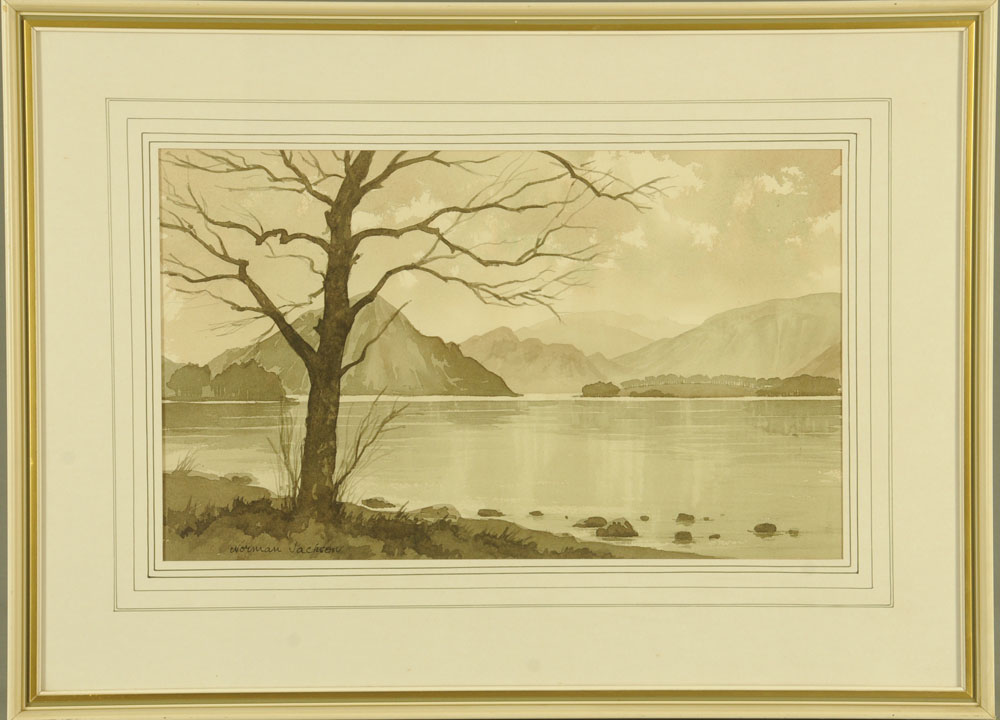 "Norman Jackson, watercolour ""Ullswater"", 29 cm x 47 cm, framed, signed. - Image 2 of 2"