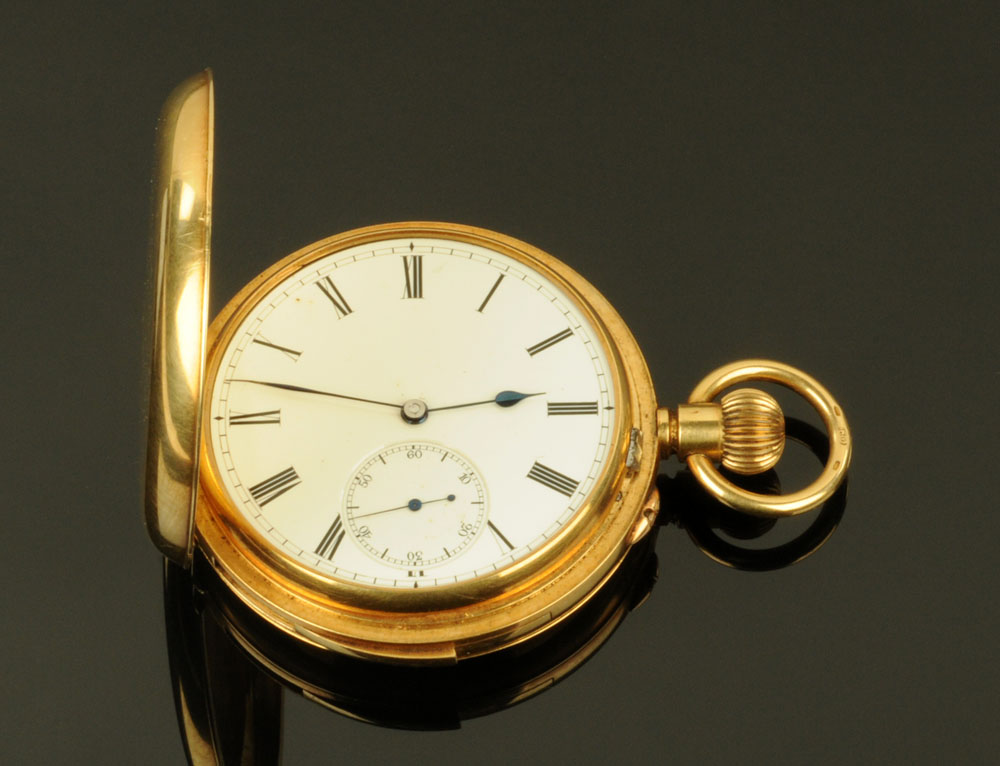 An early 20th century Swiss 18 ct gold keyless lever full hunting cased minute repeat chronograph
