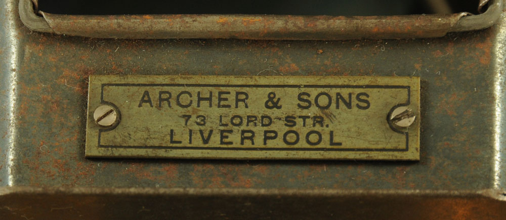 An 20th century Archer and Sons of Liverpool brass and tin plate magic lantern, 39 cm long, - Image 2 of 2