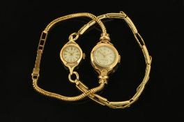 A 9 ct gold cased Cyma ladies wristwatch with 9 ct gold bracelet,