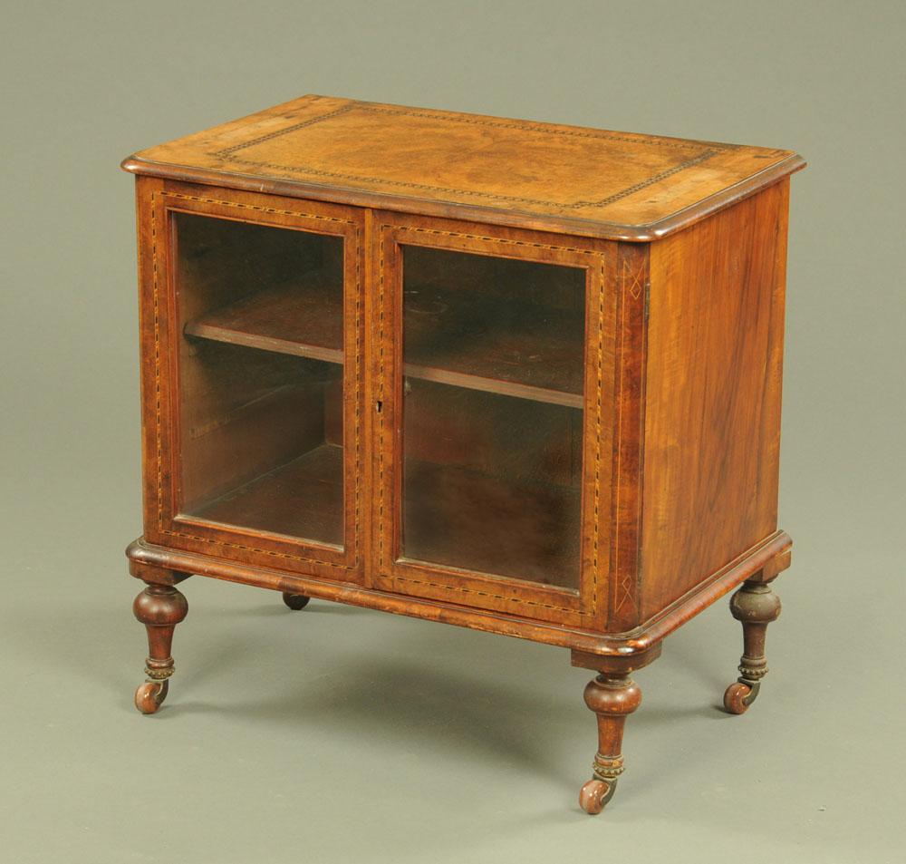 A Victorian walnut low cabinet,