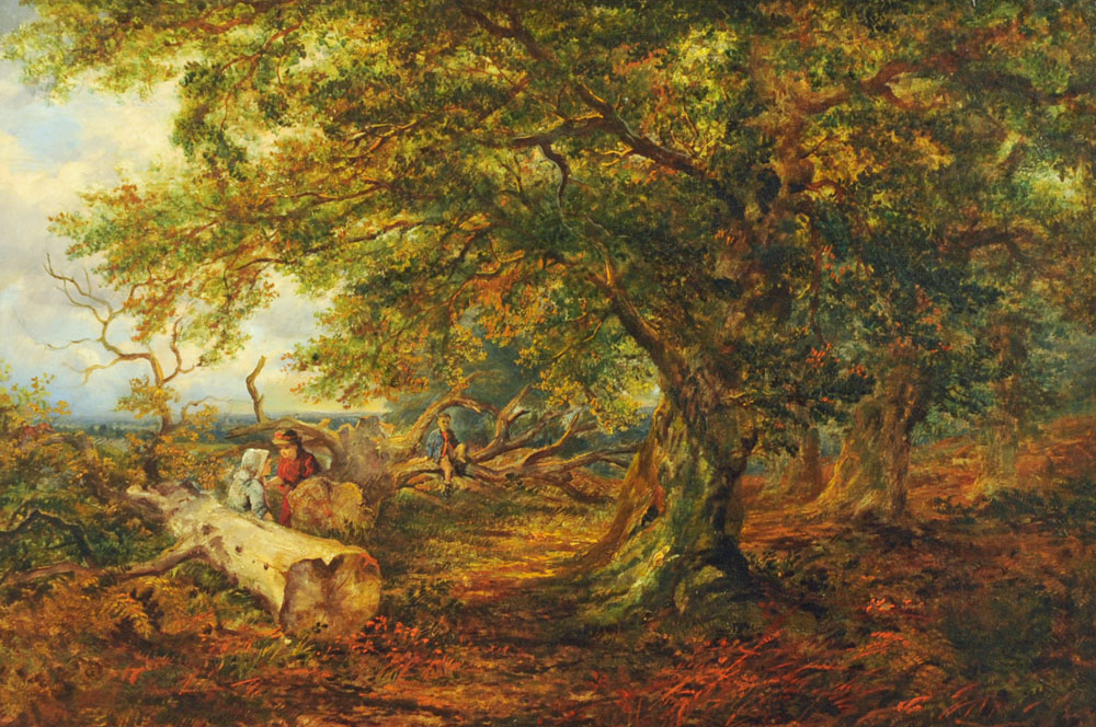19th century English School oil painting on canvas, figures in wooded landscape.