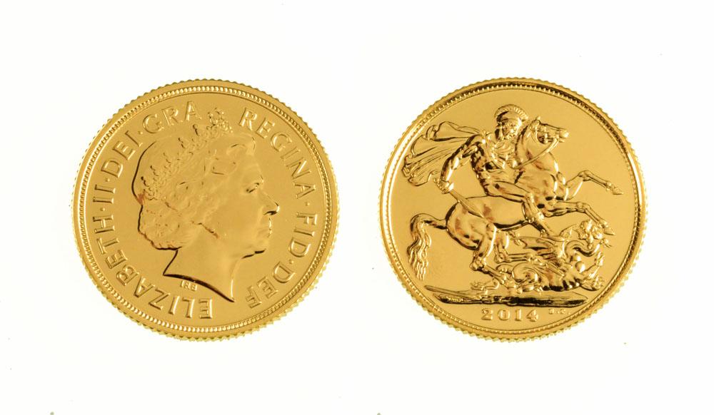 A Queen Elizabeth II gold full sovereign, 2014. UNC.