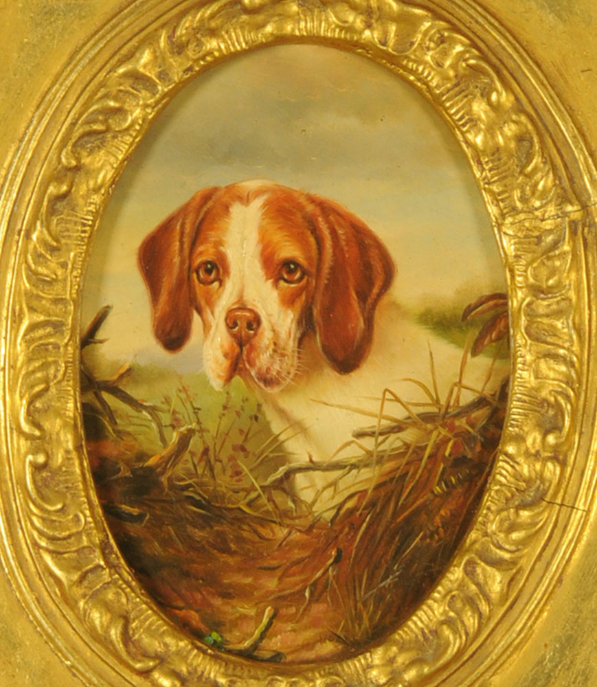 Oil painting of 19th century style, portrait of a Beagle, oval,