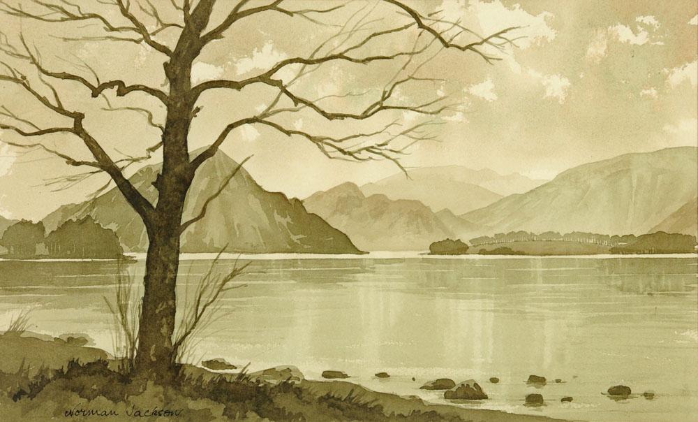 "Norman Jackson, watercolour ""Ullswater"", 29 cm x 47 cm, framed, signed."