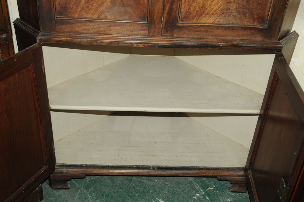 An early 19th century mahogany standing corner cupboard, - Image 6 of 13
