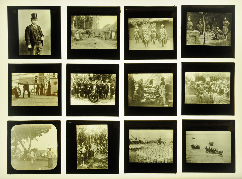 A case of forty seven late Victorian/early 20th century magic lantern slides,
