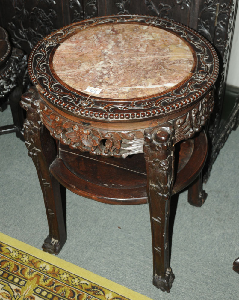 A 19th century Chinese hardwood rouge marble topped jardiniere stand, - Image 2 of 7