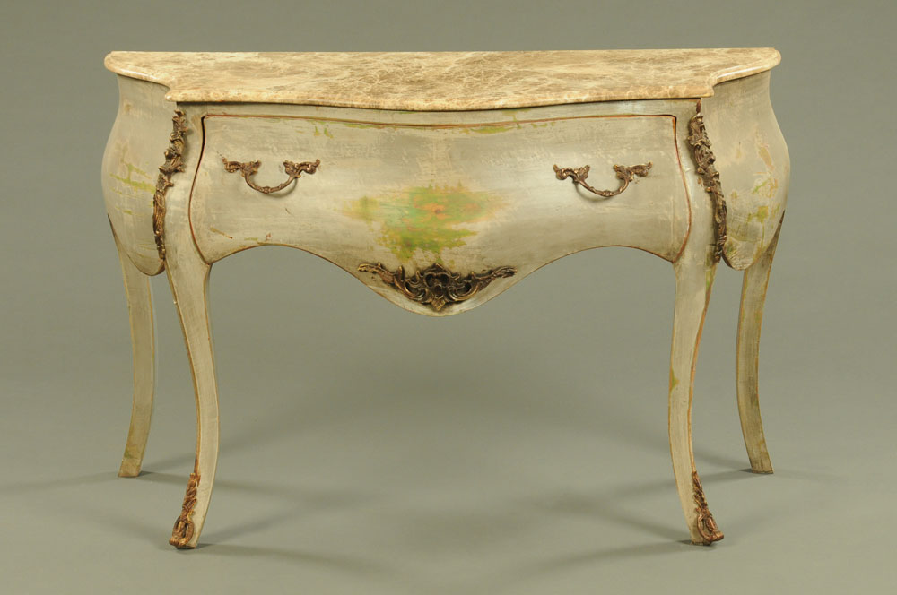 A Louis XV style painted commode chest,