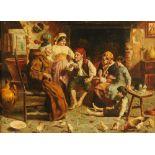 N.E.P. in the style of Zampigni, oil on board, interior scene.