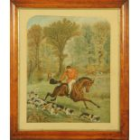 """A 19th century coloured print, """"Full Cry"""". 44 cm x 35 cm in maple frame."""