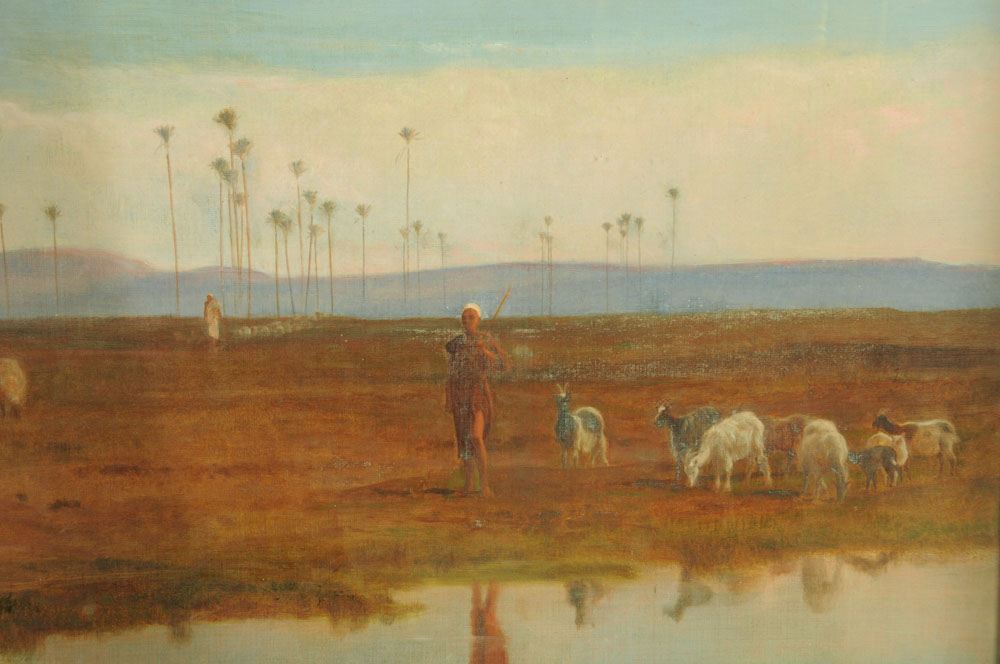 """Frederick Goodall (RA 1822-1904), a large oil painting on canvas """"Changing Pasture"""", - Image 4 of 7"""